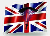 Country Flag Sport Icon Silhouette UK Parachuting — Stock Photo