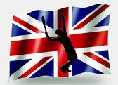 Vlag land sport pictogram silhouet uk tennis — Stockfoto
