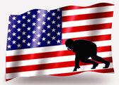 Vlag land sport pictogram silhouet vs Amerikaanse Voetbal scrim — Stockfoto