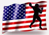 Vlag land sport pictogram silhouet vs amerikaanse voetbal — Stockfoto