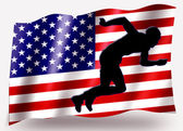 Bandera de país del deporte sprint icono silueta usa atletismo — Foto de Stock