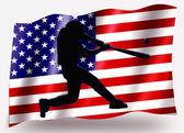 Country Flag Sport Icon Silhouette USA Baseball Batter Large — Stock Photo