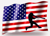 Country Flag Sport Icon Silhouette USA Baseball Batter Small — Stock Photo