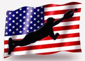 Bandera de país del deporte buceo icono silueta usa baseball — Foto de Stock