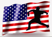 Country Flag Sport Icon Silhouette USA Baseball Pitching — Stock Photo