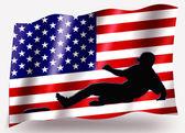 Bandera de país deporte de béisbol de estados unidos de silueta icono seguro — Foto de Stock