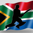 Country Flag Sport Icon Silhouette South Africa Cricket Batsman - Stock Photo
