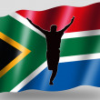 Country Flag Sport Icon Silhouette South Africa Cricket Bowled - Stock Photo