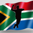 Country Flag Sport Icon Silhouette South Africa Cricket Bowling - Stock Photo