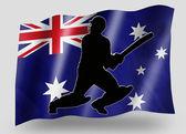 Country Flag Sport Icon Silhouette Australia Cricket Batsman — Stock Photo