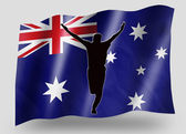 Country Flag Sport Icon Silhouette Australia Cricket Bowled — Stock Photo