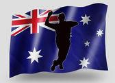 Country Flag Sport Icon Silhouette Australia Cricket Bowl — Stock Photo