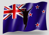 Bandeira do país do esporte grilo de nova zelândia de silhueta ícone rolado — Foto Stock