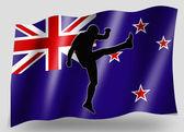 Vlajka země sportovní ikona silueta nový zéland rugby vysoká kicker — Stock fotografie