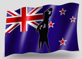 Vlag land sport pictogram silhouet new zealand rugby lineout — Stockfoto