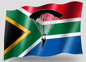 Country Flag Sport Icon Silhouette South Africa Parachuting — Stock Photo