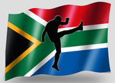 Country Flag Sport Icon Silhouette South Africa Rugby High Kicke — Stock Photo