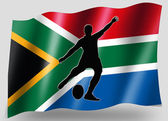 Bandera de país del deporte golpeador de rugby de sudáfrica de icono silueta — Foto de Stock