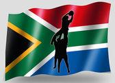 Bandiera del paese di rimessa laterale di icona sagoma south africa rugby sport — Foto Stock