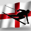 Country Flag Sport Icon Silhouette English Ski — Stock Photo