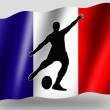 Country Flag Sport Icon Silhouette French Rugby Place Kick - Stock Photo