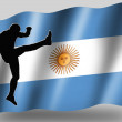 Country Flag Sport Icon Silhouette Argentine Rugby High Kick — Stock Photo