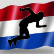 Country Flag Sport Icon Silhouette Dutch Athletics — Stock Photo