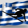 Country Flag Sport Icon Silhouette Greece Ski — Stock Photo