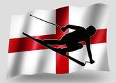 Country Flag Sport Icon Silhouette English Ski — Stock Photo