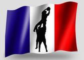 País bandeira esporte ícone silhueta rugby francês lineout — Foto Stock