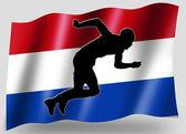 страны флага спортивный значок силуэт голландский лёгкая атлетика — Стоковое фото