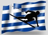 Bandera de país del deporte esquí icono silueta grecia — Foto de Stock