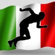 Country Flag Sport Icon Silhouette Italian Athletics — Stock Photo