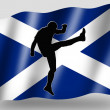 Country Flag Sport Icon Silhouette Scottish Rugby High Kicker — Stok Fotoğraf #7601863