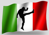 Country Flag Sport Icon Silhouette Italian Rugby Kick — Stock Photo