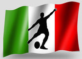 Vlajka země sportovní ikona silueta italské rugby místo kick — Stock fotografie