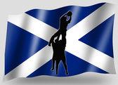 Bandera de país del deporte lineout icono silueta rugby escocés — Foto de Stock