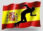 Bandeira do país do esporte atletismo espanhol do ícone silhueta — Foto Stock