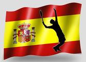 ülke bayrağı simgesi siluet i̇spanyol tenis spor — Stok fotoğraf