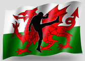 Country Flag Sport Icon Silhouette Welsh Rugby High Kick — Stock Photo