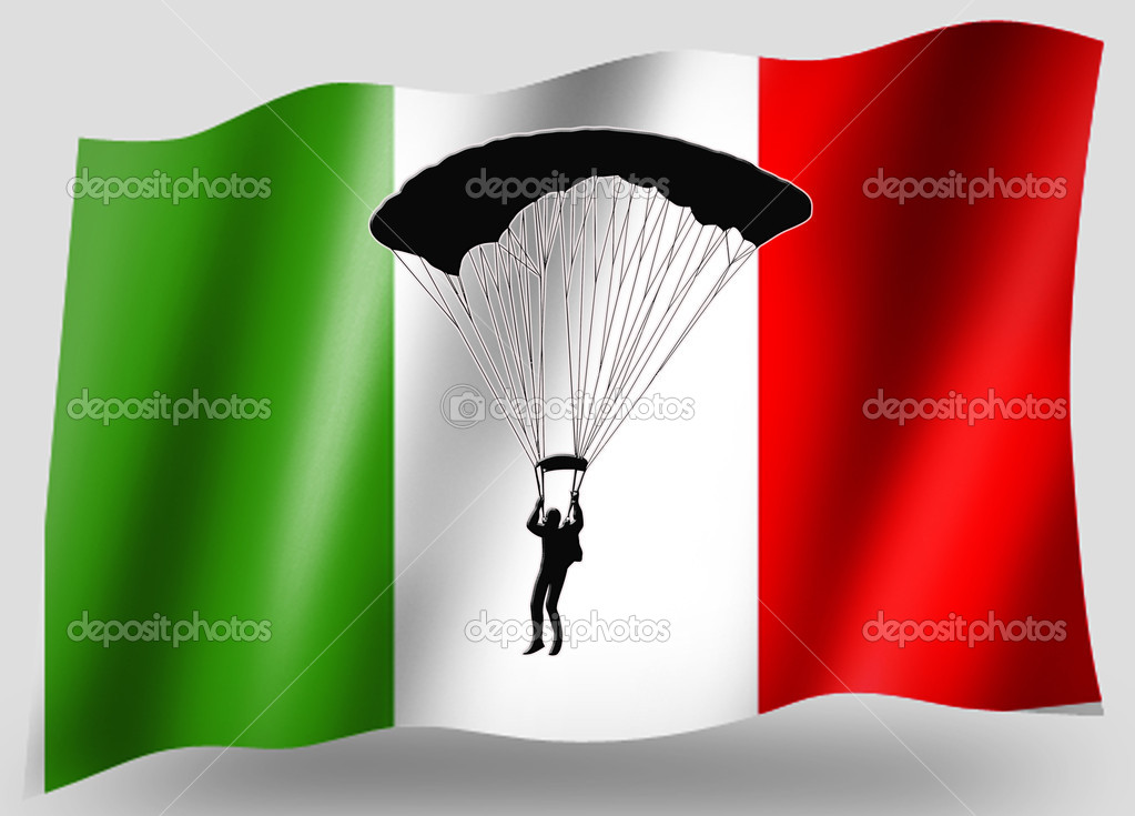 Country Flag Sport Icon Silhouette Series Italian Parachuting — Stock Photo #7601019