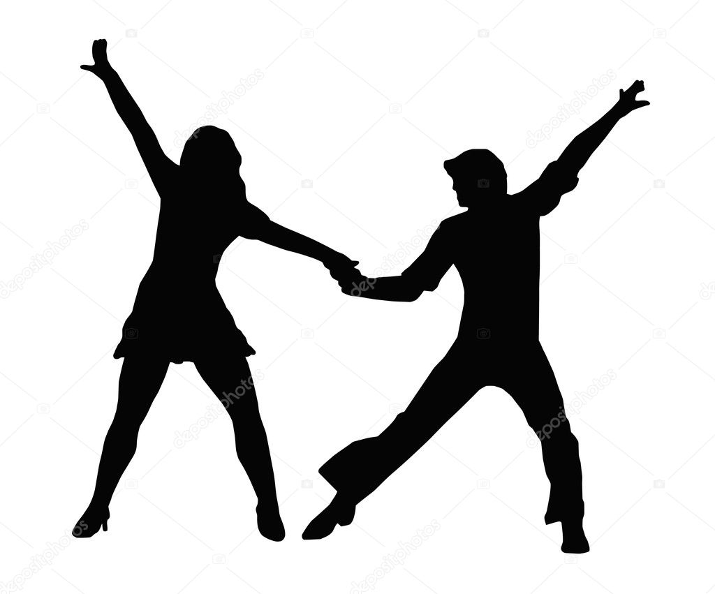 Dancing Couple Silhouette in 1970s dance Pose — Stock Vector #7722939