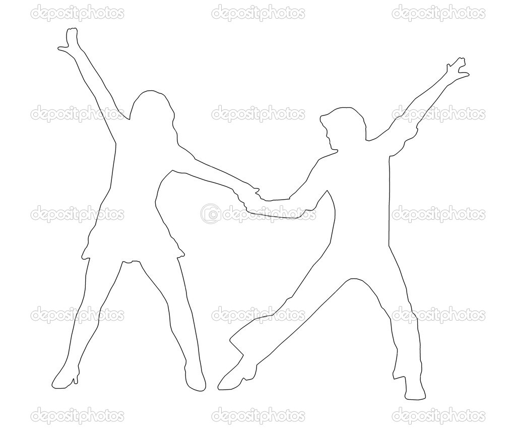 Outline Dancing Couple Silhouette in 1970s dance Pose — Stock Photo #7961869