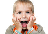 Child expressing surprise — Stock Photo