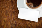 Blank card with coffee cup — Stock Photo