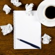 Cup of coffee, paper and pen — Stock Photo
