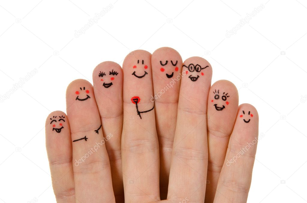 Happy group of finger smileys isolated on white background — Stock Photo #7697425