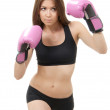 Boxing Woman in pink box gloves — Stock Photo