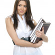 Brunette woman student hold books, textbooks, notebook — Stock Photo