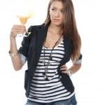 Woman drinking margarita cocktail — Stock Photo